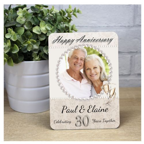 Personalised 30th Pearl Wedding Anniversary Wood Photo Panel Print Gift F33